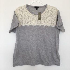 J. Crew Lace Gray T Shirt- Size Large